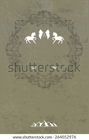 equestrian shield with horses and grunge vintage background with copy space - stock vector