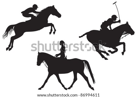 Equestrian sport. Dressage, horse jumping and polo horses and riders vector silhouettes