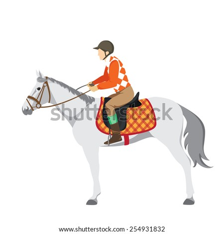 Equestrian sport. Illustration of horse. Vector. Thoroughbred horse. The Sport of Kings.  Horse with Horseman. Derby - stock vector