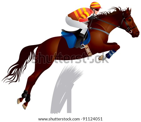 Equestrian sport jumping horse and rider in vector, The Sport of Kings - stock vector