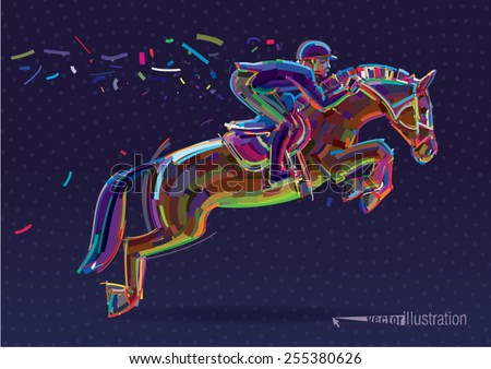 Equestrian sport- rider in jumping show. Vector artwork in the style of paint strokes.