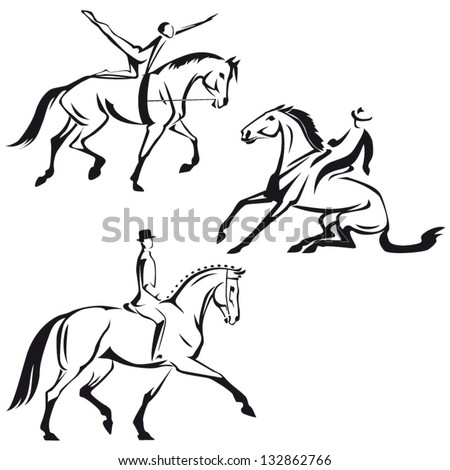 Equestrian sports 2: Sketch-based images showing equestrian vaulting, western riding  and dressage - stock vector