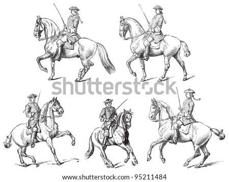 Equestrianism (horseback riding) / vintage illustration from Meyers Konversations-Lexikon 1897 - stock vector