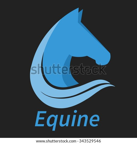 Equine head graphic logo design. Vector template