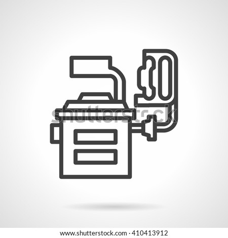 Equipment for balancing wheels. Car service, computer diagnostics and repair of motor transport. Industry and engineering. Simple black line vector icon. Single element for web design, mobile app. - stock vector