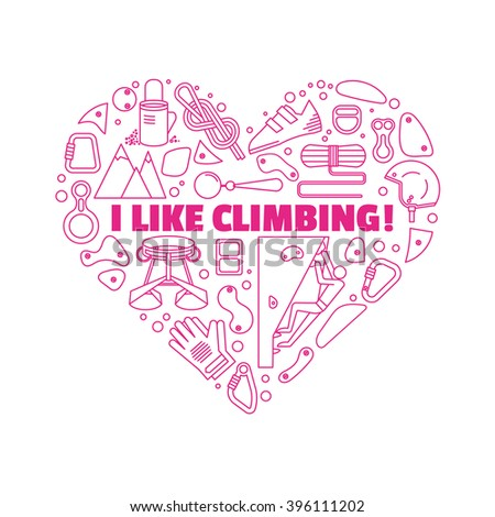 Equipment for climbing.Round emblem made in a linear style.Logo for shirts. - stock vector