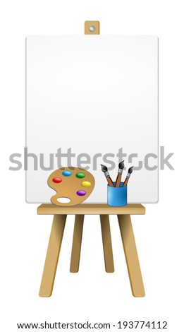 Equipment for painting, Wooden easel with blank canvas, lot of brushes and palette, vector art image illustration, isolated on white background - stock vector