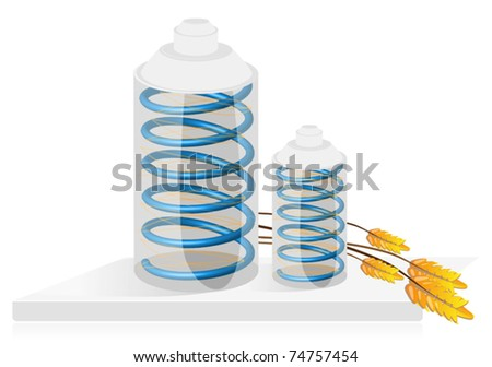 Equipment for the storage of products, can and ears of wheat - stock vector