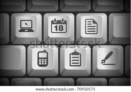 Equipment Icons on Computer Keyboard Buttons Original Illustration - stock vector