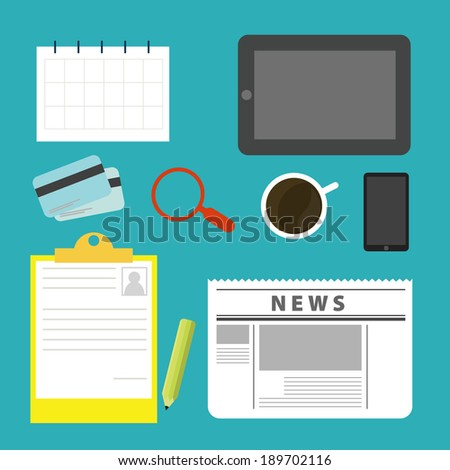 Equipment on the desks of business. Modern design flat icon vector collection concept in stylish colors of finance and marketing objects. Isolated on blue background. - stock vector