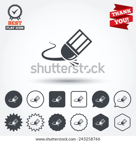 Eraser icon. Erase pencil line symbol. Correct or Edit drawing sign. Circle, star, speech bubble and square buttons. Award medal with check mark. Thank you ribbon. Vector - stock vector