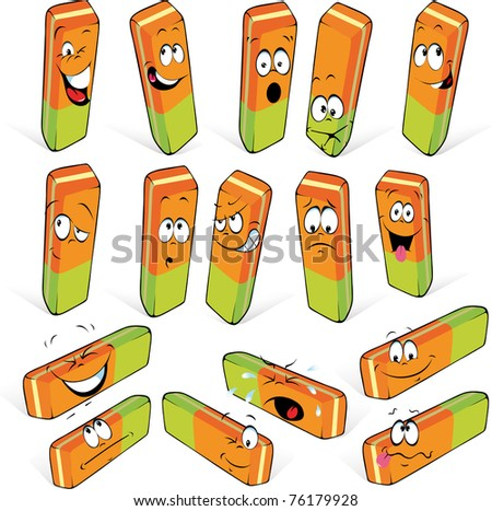 eraser with many expressions - stock vector