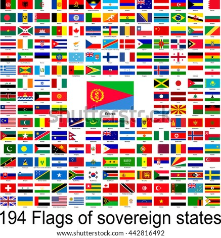 Eritrea, collection of vector images of flags of the world