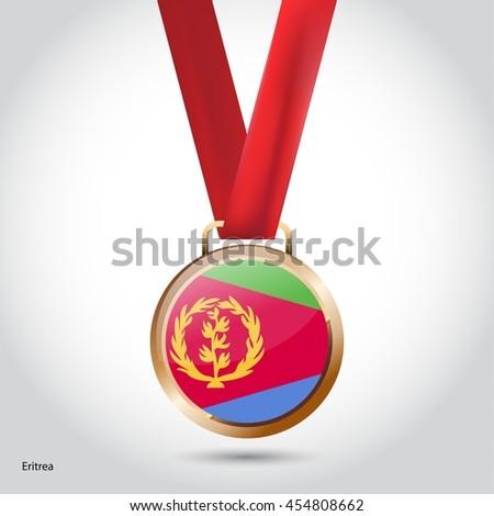 Eritrea Flag in Bronze Medal. Olympic Game Bronze Medal. Vector Illustration - stock vector