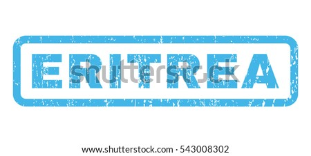 Eritrea text rubber seal stamp watermark. Vector blue ink tag inside rounded rectangular banner. Grunge design and scratched texture. Horizontal sign on a white background.