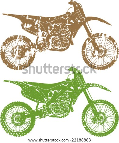 Eroded Motorcross cycles Grunge - stock vector