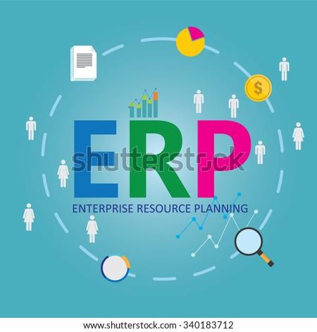 erp enterprise resource planning - stock vector