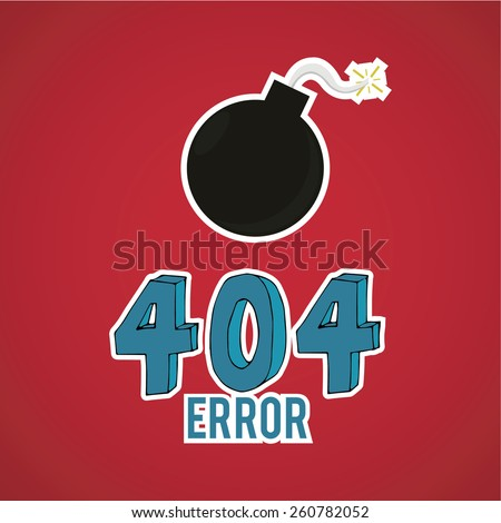 Error 404,  bomb on red color background - stock vector