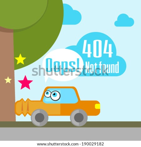 Error 404 concept with car accident - stock vector