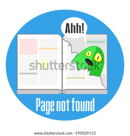 Error 404 concept with torn page  - stock vector
