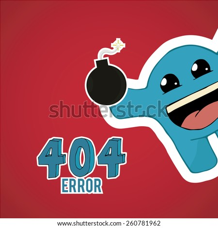 Error 404, happy monster offset with bomb on red color background - stock vector