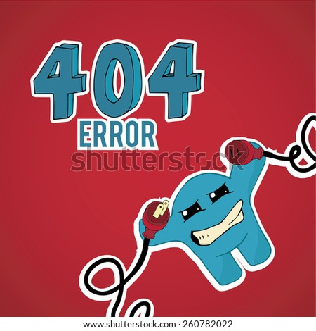 Error 404, monster angry with plug and pin on red color background - stock vector