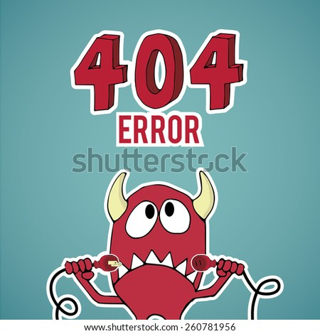 Error 404, monster looking up with disconnected cables on blue color background - stock vector