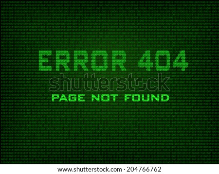 Error 404 Page not found. Error message in the form of binary code. Vector - stock vector