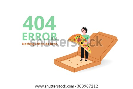 Error 404 page with a pizza, vector illustrated template - stock vector