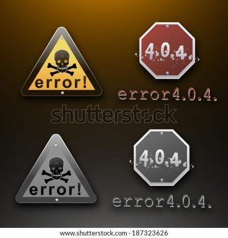 error 404 sign set - stock vector