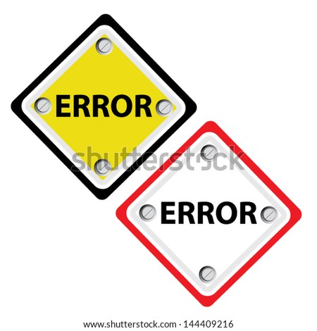 Error sign white background. Vector - stock vector