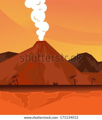 erupting volcano, vector illustration - stock vector