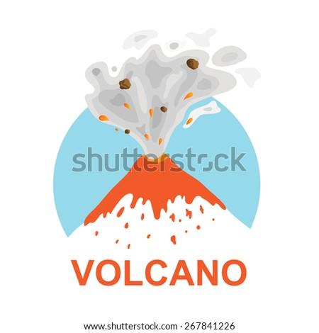 eruption of a volcano, vector logo illustration - stock vector