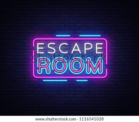 escape room neon signs vector escape stock vector 1116541028 shutterstock. Black Bedroom Furniture Sets. Home Design Ideas