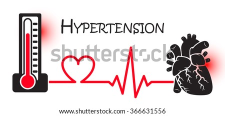 Essential or Primary Hypertension ( high blood pressure )( sphygmomanometer connect to heart ) ( flat design ) ( NCD concept ( Non communicable diseases )) ( Heart attack ( MI ))