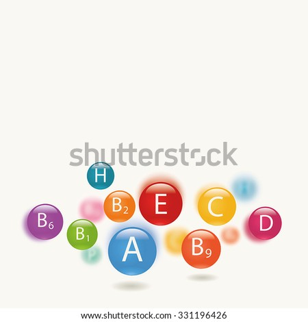 Essential vitamins necessary for human health. Abstract colorful illustration. Light background.