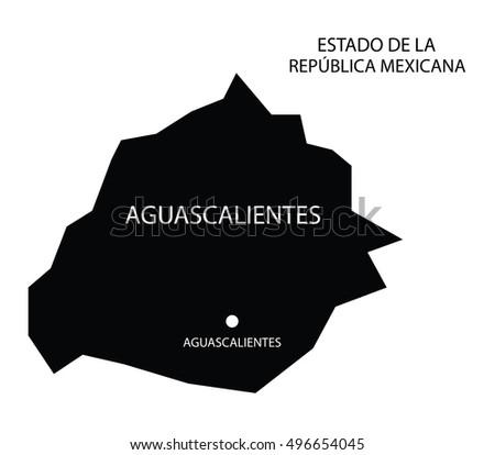 Estado De Aguascalientes Mexico Vector Map Stock Vector 496654045