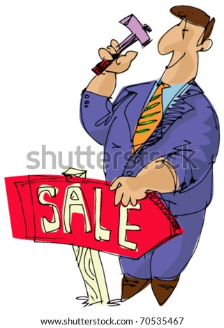 estate agent with hummer - stock vector