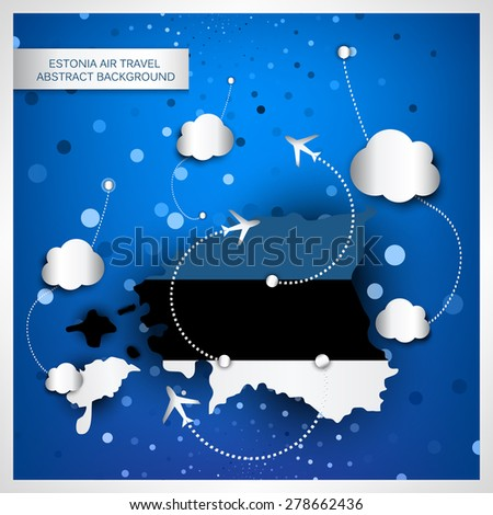 Estonia air travel abstract background. Vector illustration.