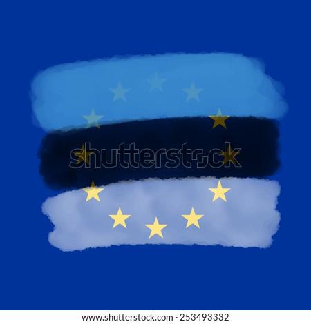 Estonia Euro Union Flag - stock vector