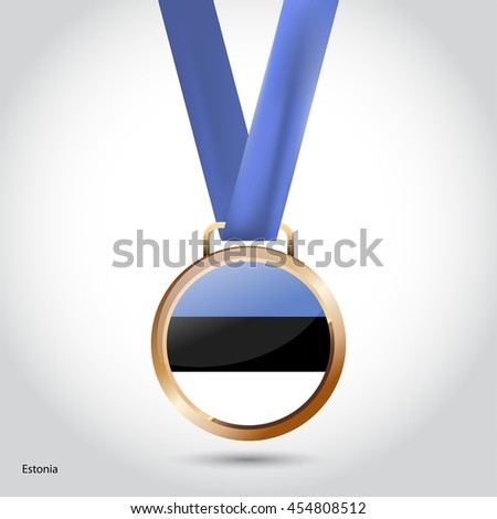 Estonia Flag in Bronze Medal. Olympic Game Bronze Medal. Vector Illustration - stock vector