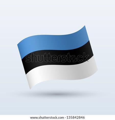 Estonia flag waving form on gray background. Vector illustration. - stock vector