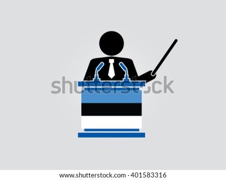 Estonia Podium Analyze - stock vector
