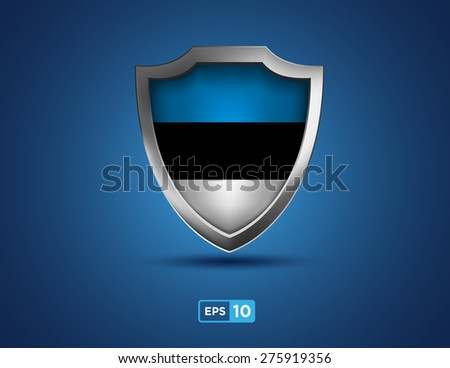 Estonia shield on the blue background - stock vector