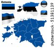 Estonia vector set. Detailed country shape with region borders, flags and icons isolated on white background. - stock vector