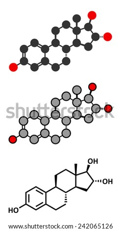 Estriol (oestriol) human estrogen hormone molecule. Conventional skeletal formula and stylized representations. - stock vector