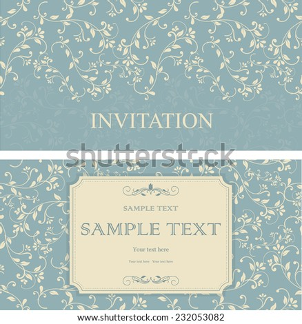 et of retro Invitations or wedding cards with elegant floral elements  - stock vector