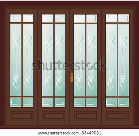 Etched glass door vector - stock vector
