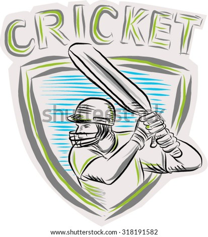 Etching engraving handmade style illustration of a cricket player batsman with bat batting viewed from side set inside shield crest.  - stock vector