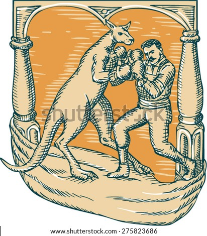 Etching engraving handmade style illustration of a kangaroo with boxing gloves boxing man set on a stage.